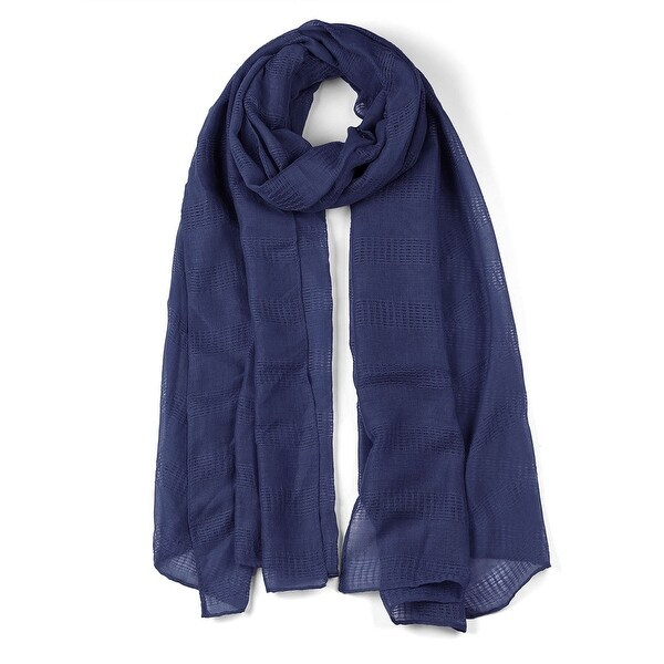 Hollow Long Solid Color Wrap Cotton Linen Scarf Shawl For Women Navy Blue