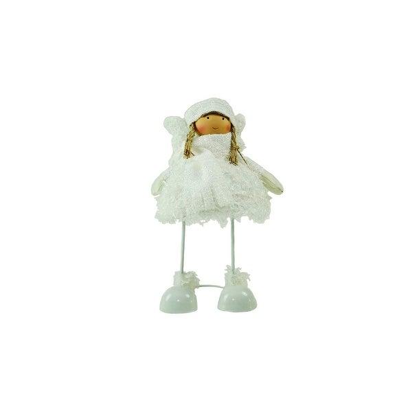 "24"" Snowy Woodlands Plush White Angel Bobble Girl Christmas Figure"