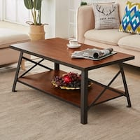 VECELO Stotage Coffee Table Wood and Metal Finish Accent Style