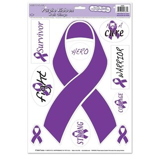 """Club Pack of 120 Purple Ribbon Peel 'N Place Awareness Decal Decorations 17"""""""