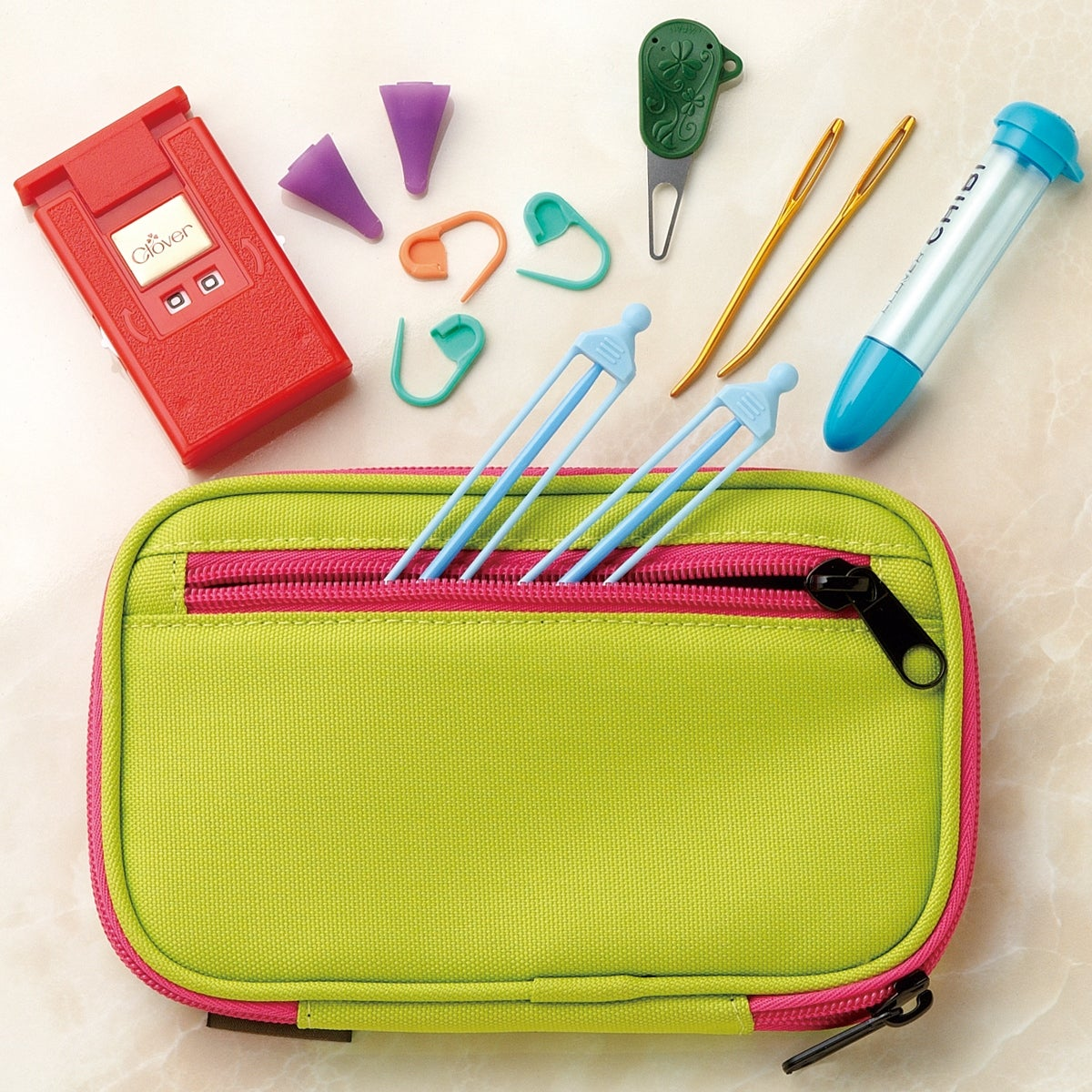 Clover 3673 Amour Crochet Hook Set With Zippered Case Size 10 Neon Green With Hot Pink Trim