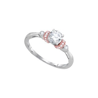5/8Ctw Diamond 1/2Ct-Crd Bridal Engagement Ring 10K White-Gold