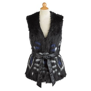 Women's Black and Blue Faux Fur Luxe Vest