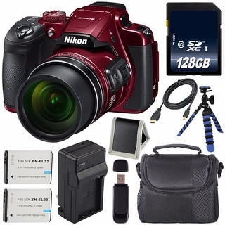 Nikon COOLPIX B700 Digital Camera (Red) International Model + EN-EL23 Replacement Li-on Battery + 128GB SDXC Card Bundle