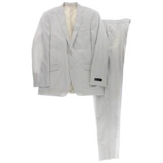 U.S. Polo Assn. Mens Two-Button Suit Seersucker Flat Front - 42l