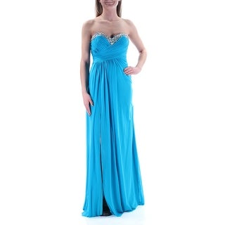 JUMP Womens New 2674 Blue Beaded Sequined Empire Waist Dress 3 Juniors B+B