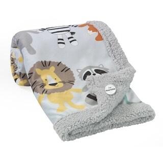 Lambs & Ivy Two of a Kind Blanket - Gray, Noah's Ark, Elephant, Lion, Raccoon, Fox, Zebra, Boy