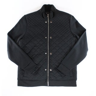 INC NEW Solid Deep Black Mens Size Large L Full-Zip Quilted Jacket