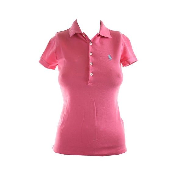 5226b6de89d Shop Polo Ralph Lauren Pink Short-Sleeve Stretch Mesh Polo Shirt XS ...