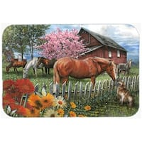 Carolines Treasures PTW2020LCB Horses Chatting With The Neighbors Glass Cutting Board, Large