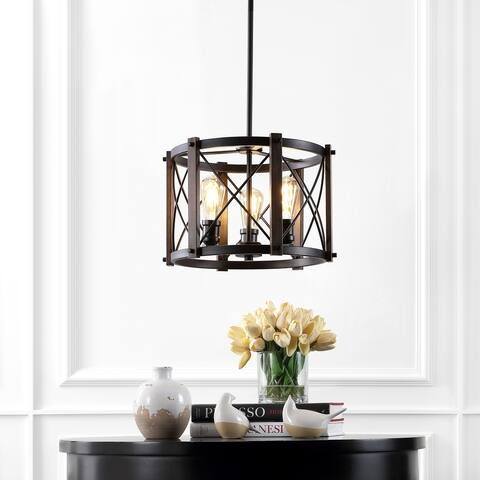 Ferme Iron Rustic LED Pendant, Brown/Oil Rubbed Bronze by JONATHAN Y