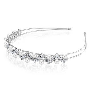 Bling Jewelry Rhinestone Wave Imitation Pearl Headband Rhodium Plated