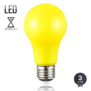 Yellow LED A19 Colored Light Bulb, E26 Medium Base, 7W (50W Equiv.), Non-Dimmable