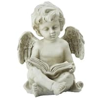 "6.5"" Gray Decorative Sitting Cherub Angel Outdoor Garden Statue - N/A"