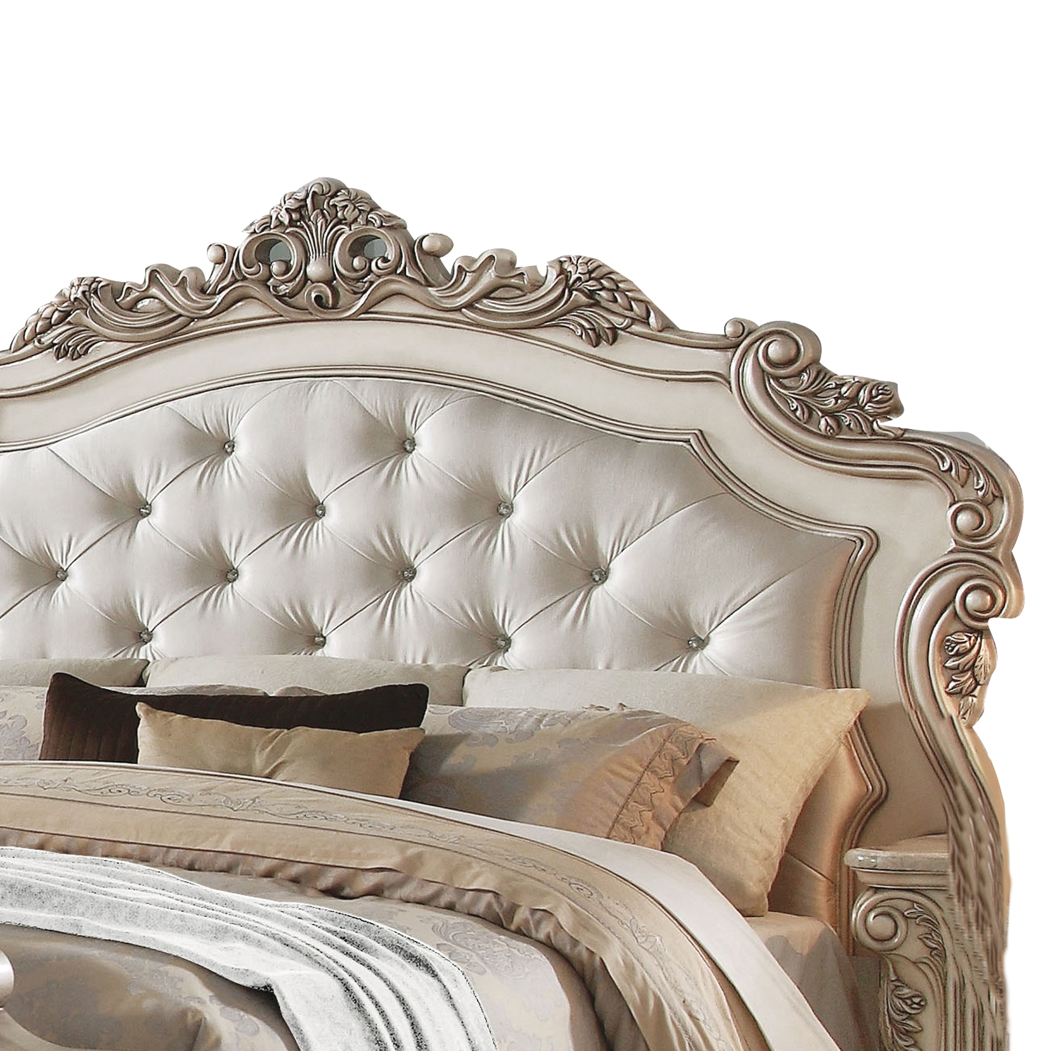 Shop Black Friday Deals On Tufted Queen Size Bed With Crown Shape Headboard And Footboard Beige Overstock 31255692