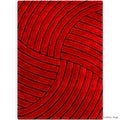 Allstar Red Shaggy Area Rug with 3D Design with Black Lines. Contemporary Formal Casual Hand Tufted (5' x 7') - Thumbnail 1