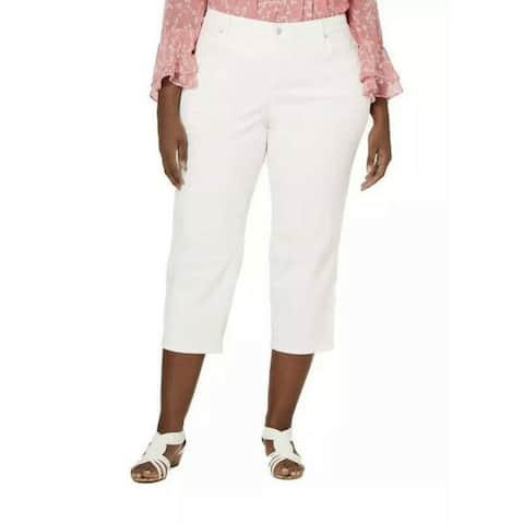 CHARTER CLUB Womens White Zippered Solid Capri Pants Size 18