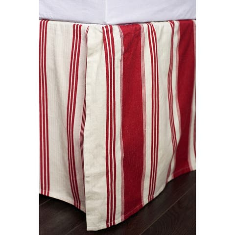 Canon Red Cotton 18-inch Drop 3 Piece Tuck in Bed Skirt