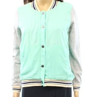 Splendid NEW Green Women's Size Small S Satin Knit Bomber Jacket