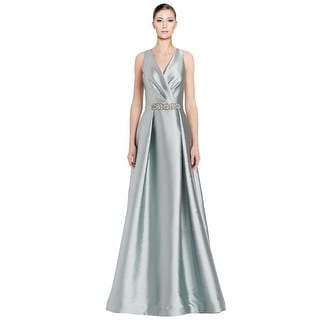 Teri Jon Beaded Waist V-Neck Sleeveless Evening Gown Dress - 8