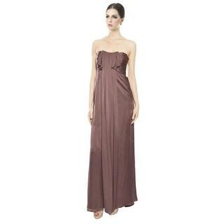 Escada Silk Draped Ruffle Strapless Evening Gown Dress