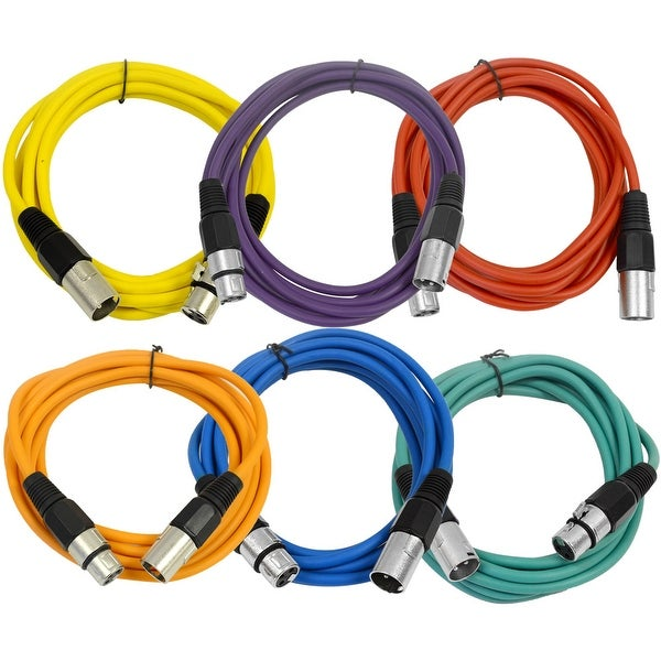 SEISMIC AUDIO (6 PACK) 10' XLR Microphone Patch Cables Color Cords