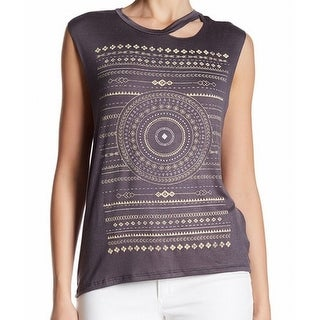 Project Social T NEW Gray Charcoal Printed Cutout Cap-Sleeve Small S Blouse
