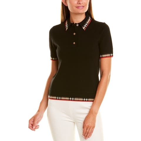 Burberry Check Trim Wool-Blend Polo Shirt