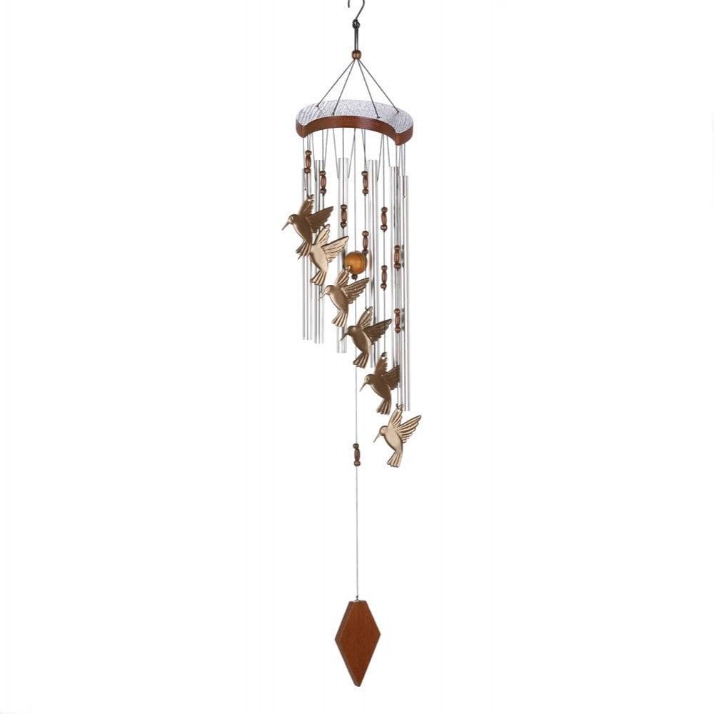 Small Pewter Hummingbird w//Crystal Windchime