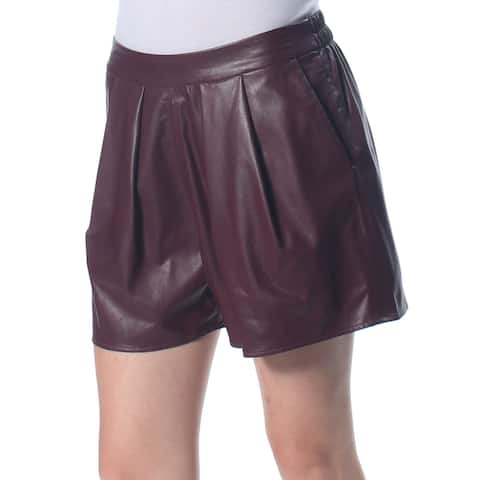 CECE Womens Burgundy Pocketed Faux Leather Pull-on Short Size: 2