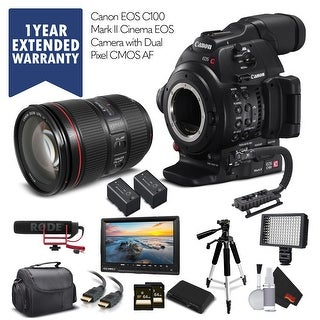 Canon EOS C100 Mark II & EF 24-105mm f/4L IS II USM Lens with 2 Memory Cards And More - Professional Bundle