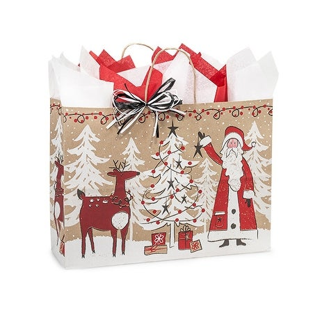 """Pack of 25, Vogue Woodland Santa Kraft Bags 16 X 6 X 12"""" For Christmas Packaging, 100% Recyclable, Made In Usa"""