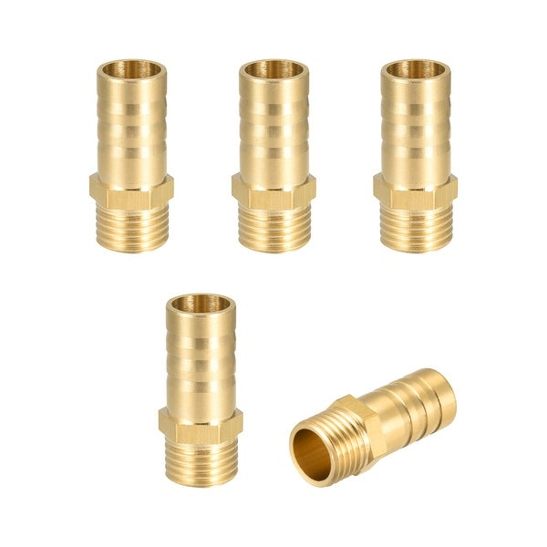 "Brass Barb Hose Fitting Connector Adapter 12 mm Barbed x 1/4"" G Male Pipe 5Pcs - 1/4"" G x 12mm"