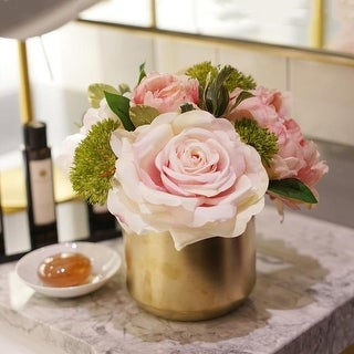 Mademoiselle Pink Rose Peony Floral Arrangement in Gold Ceramic Vase