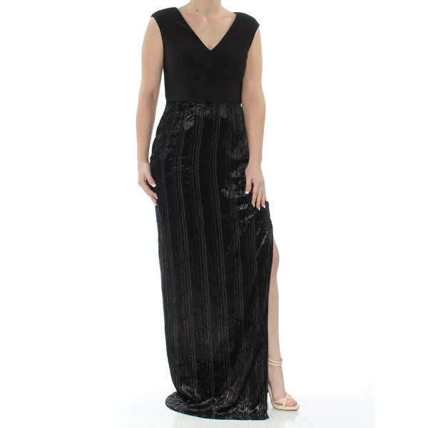 ADRIANNA PAPELL Womens Black Velvet Skirt Column Gown Sleeveless V Neck  Full-Length Evening Dress Plus Size: 16W