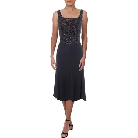 Alex Evenings Womens Petites Cocktail Dress Jacquard Glitter - 6P