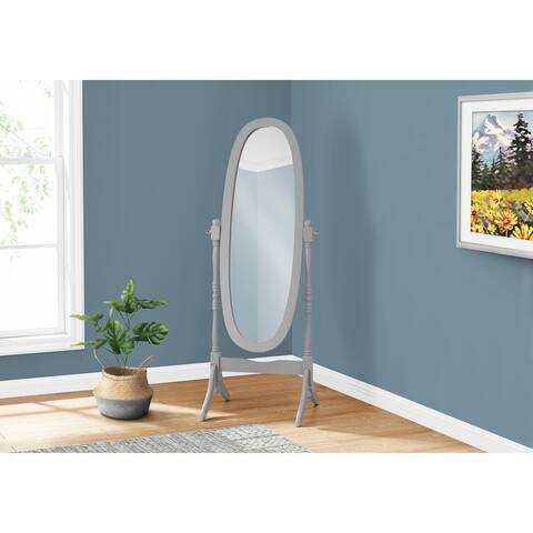 Grey Finish Wooden Cheval Floor Mirror