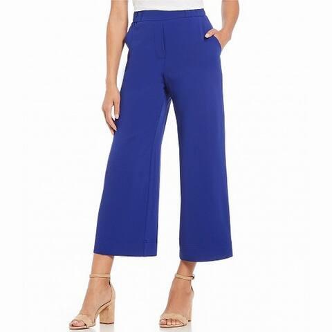 Trina Turk Womens Royal Blue Size Large L Cropped Wide Leg Stretch