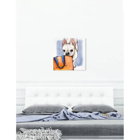 Oliver Gal 'Shop Ready Frenchie' Fashion and Glam Wall Art Canvas Print - Orange, White