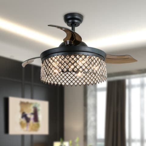 ExBrite Ceiling Fans with Lights 46 Inch With Remote Vintage Cage Chandelier Fans with Retractable Blades,5 Bulbs Not Included