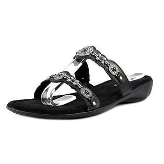 Minnetonka Ratan Slide   Open Toe Canvas  Wedge Sandal
