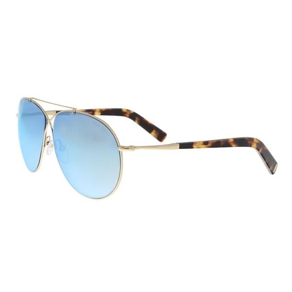 5b269a9867f08 Shop Tom Ford FT0374 S 28X Eva Gold Aviator Sunglasses - 61-10-140 ...