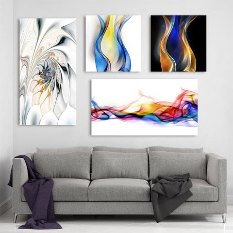 Designart - White Collection - Abstract Wall Art set of 4 pieces - Multi-color