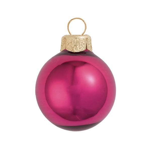"40ct Shiny Pink Berry Glass Ball Christmas Ornaments 1.5"" (40mm)"
