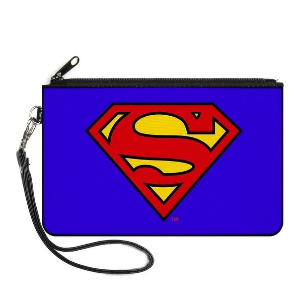 Superman Blue Canvas Zipper Wallet