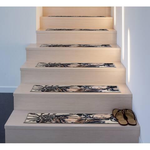 Modern Bright Flowers Non-Slip Stair Treads