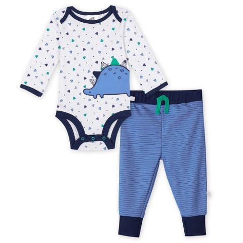 Just Born® Baby Boys' 2-Piece Organic Lil' Dino Long Sleeve Bodysuit and Pant Set - Blue/White