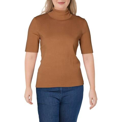 Anne Klein Womens Turtleneck Sweater Ribbed Short Sleeves - Beige - XS