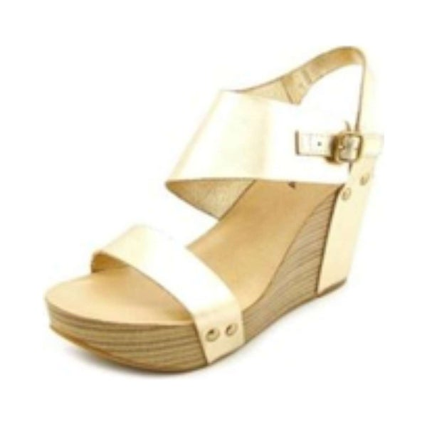 Lucky Brand Womens Marleighh Leather Open Toe Ankle Strap Wedge Pumps