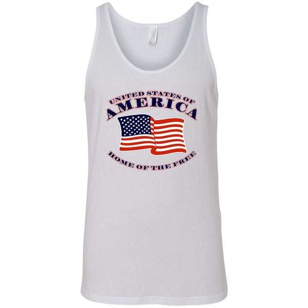 Men's USA Flag Tank Top Home of the Free Stars and Stripes Pride Gym Workout
